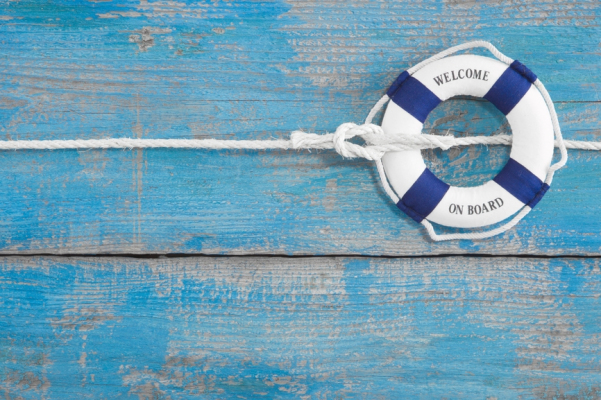 Blue wooden background – Welcome on board – holiday or cruising